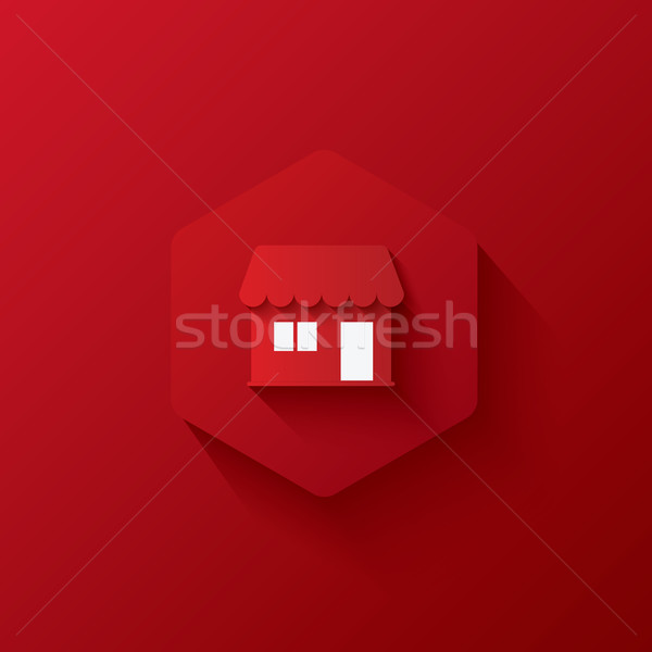 Red icons on hexagon,icons Marketing,long shadows Stock photo © artrachen