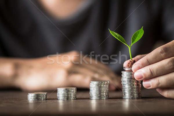 Collecting silver coins Adding money Men's hands are raising money  Stock photo © artrachen
