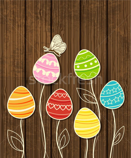 Húsvét háttér tojások pillangó vektor virág Stock fotó © Artspace