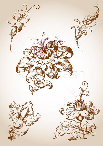Victorian floral design elements Stock photo © Artspace