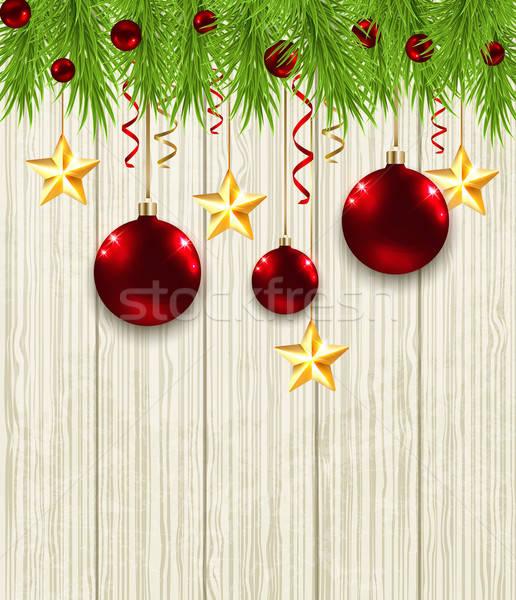 Сток-фото: ель · звезды · красный · Рождества