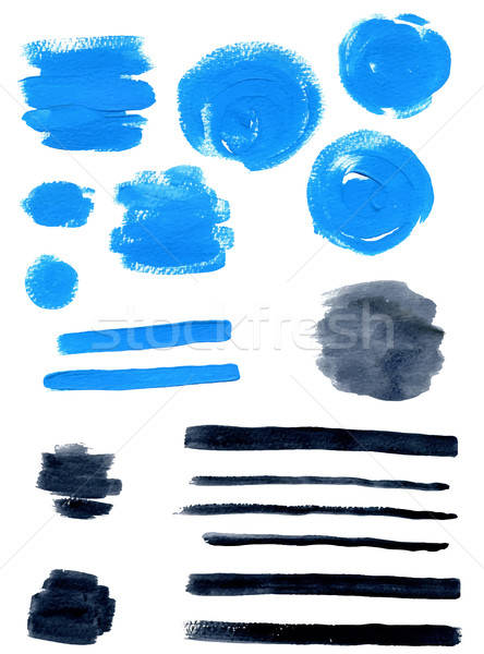 Stock photo: Blue and black vector watercolor blots