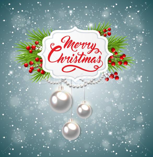 Karácsony szalag zöld fenyő ág vektor Stock fotó © Artspace
