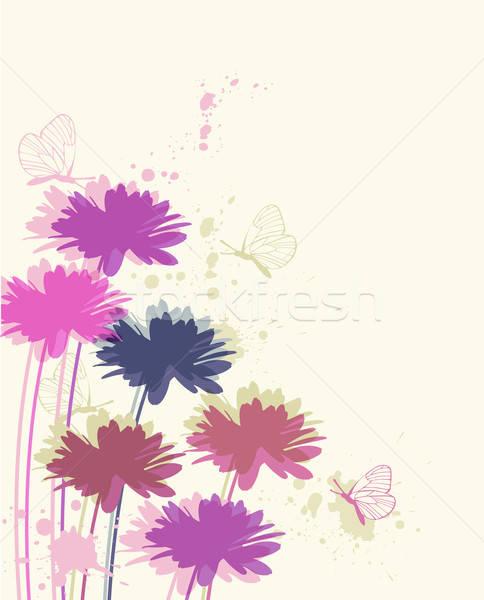 Kwiatowy rumianek motyle wektora Motyl tle Zdjęcia stock © Artspace