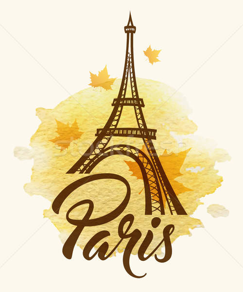 Eiffel tower and watercolor blot Stock photo © Artspace