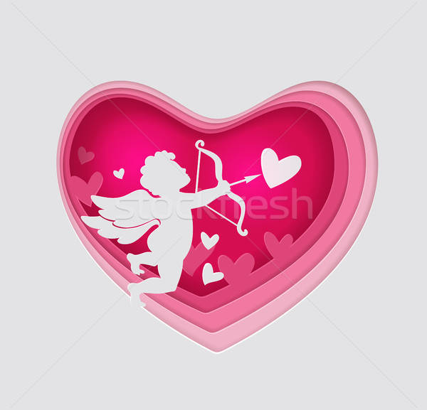 Paper pink heart and cupid Stock photo © Artspace