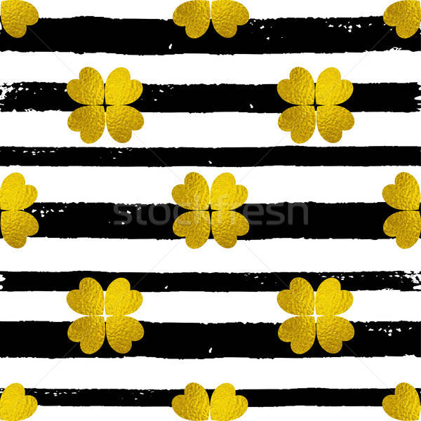 Padrão preto linhas dourado trevo decorativo Foto stock © Artspace