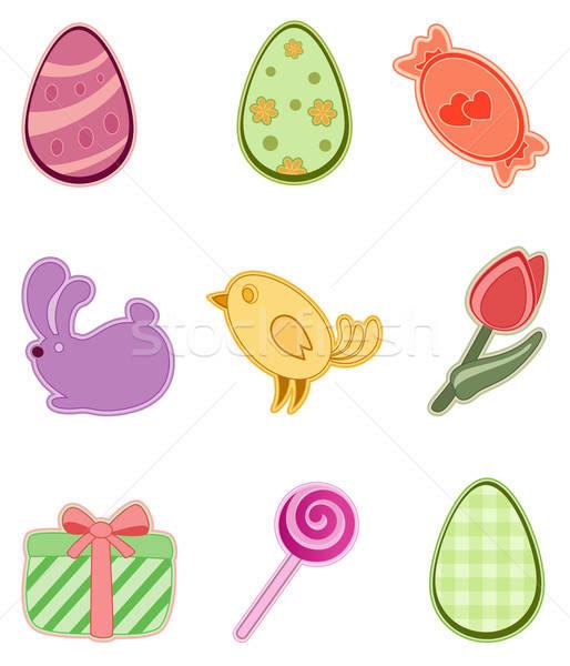 Húsvét ikon szett színes ikonok étel tojás Stock fotó © Artspace