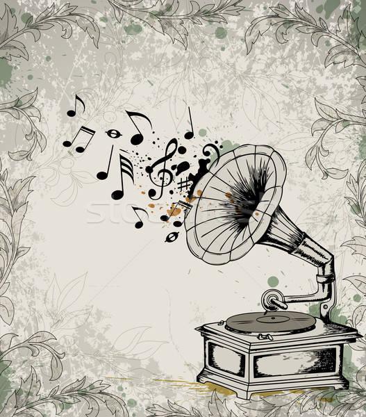 Retro muziek vector grammofoon merkt abstract Stockfoto © Artspace