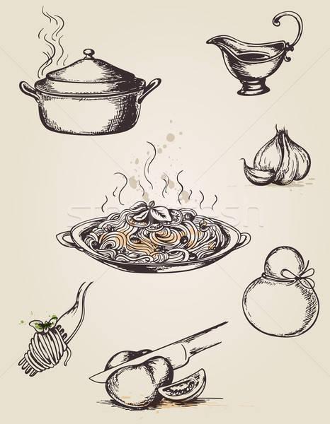 Vintage dessinés à la main pâtes arts de la table fromages Photo stock © Artspace