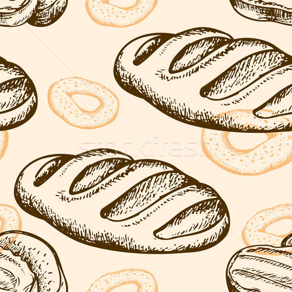 Seamless pattern with bagel and baguette Stock photo © Artspace