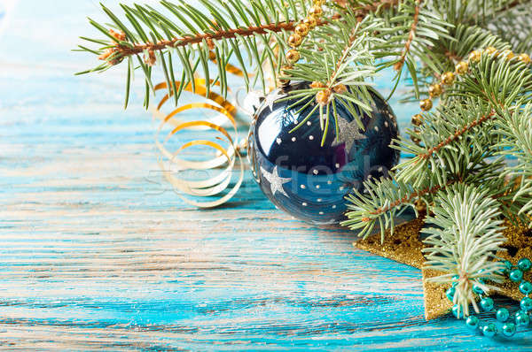 Christmas decorations and fir branch Stock photo © Artspace