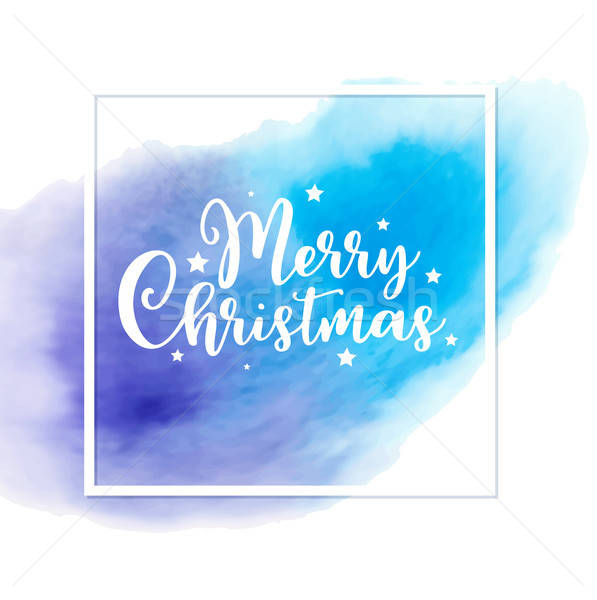 Christmas card with blue watercolor texture. Stock photo © Artspace