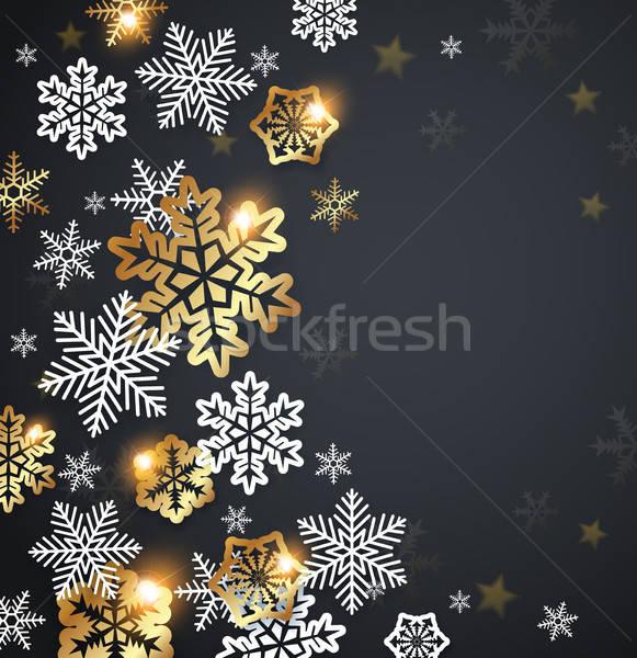 Flocos de neve preto vetor natal cartão branco Foto stock © Artspace