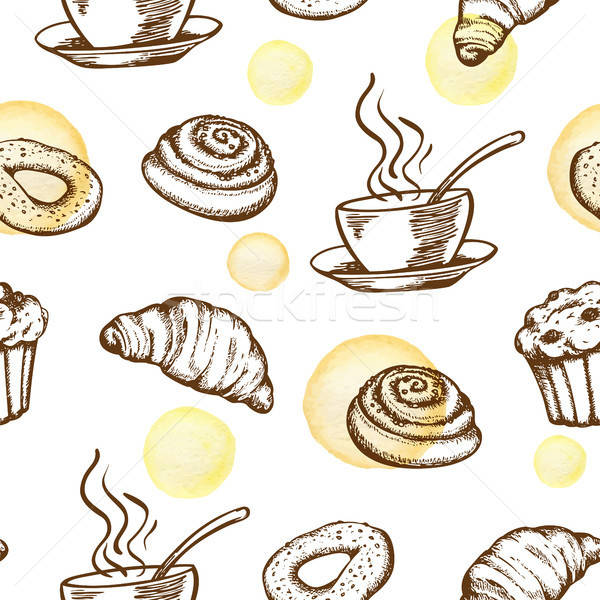 Pattern with coffee cup and croissant  Stock photo © Artspace