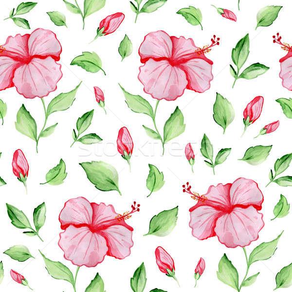 Végtelen minta piros hibiszkusz virágok vízfesték trópusi Stock fotó © Artspace