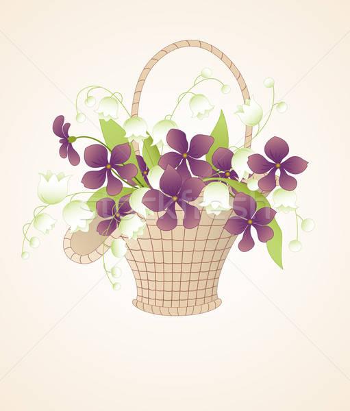 Stock fotó: Virágcsokor · liliomok · völgy · vektor · kosár · tavasz
