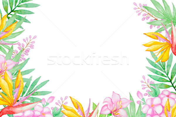 Stock photo: Tropical flowers and green leaves