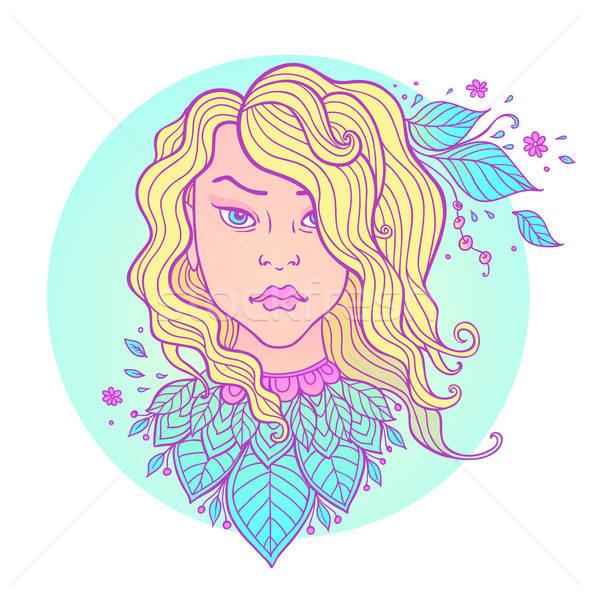少女 長髪 手描き ベクトル 葉 青 ストックフォト © Artspace