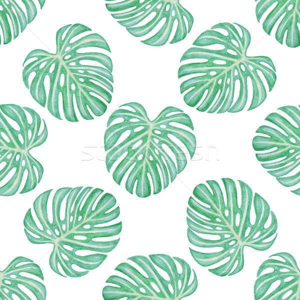 Pattern with green tropical leaves Stock photo © Artspace