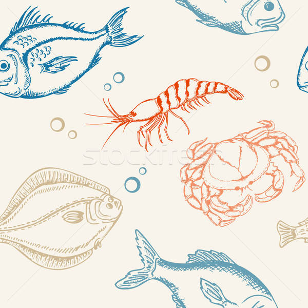 Peixe vetor caranguejo camarão mar Foto stock © Artspace