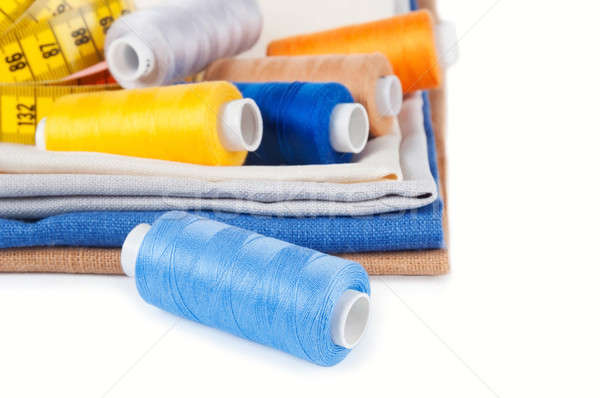 Fio algodão tecido branco fundo azul Foto stock © Artspace