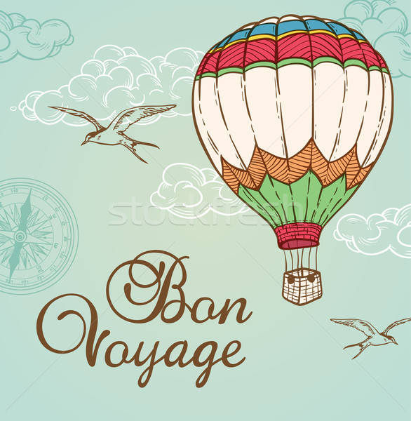 Green vintage background with air balloon Stock photo © Artspace