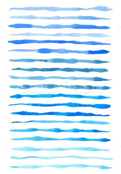 Set of vector blue watercolor lines Stock photo © Artspace