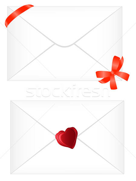 white envelope with red ribbon and seal Stock photo © Artspace