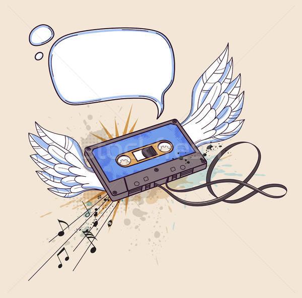 Audio kazetta szárnyak vektor musical buli Stock fotó © Artspace