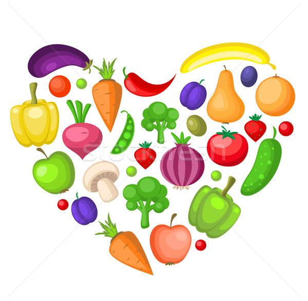 Gyümölcsök zöldségek szív vegetáriánus alma terv Stock fotó © Artspace