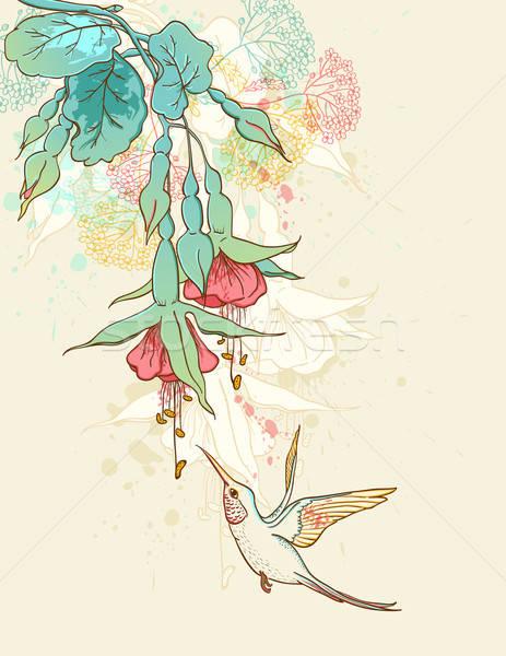 Sinekkuşu çiçekli şube vektör ağaç bahar Stok fotoğraf © Artspace