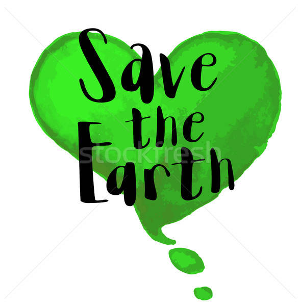 écologique jour de la terre vert couleur pour aquarelle coeur mettre Photo stock © Artspace