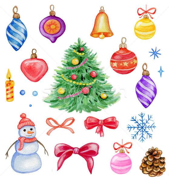 Suluboya Noel dizayn elemanları ayarlamak Stok fotoğraf © Artspace