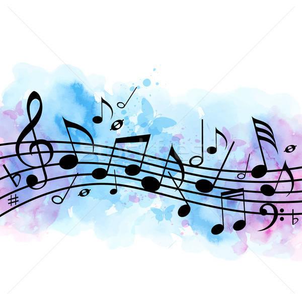 Foto stock: Notas · musicais · azul · aquarela · textura · abstrato · vetor