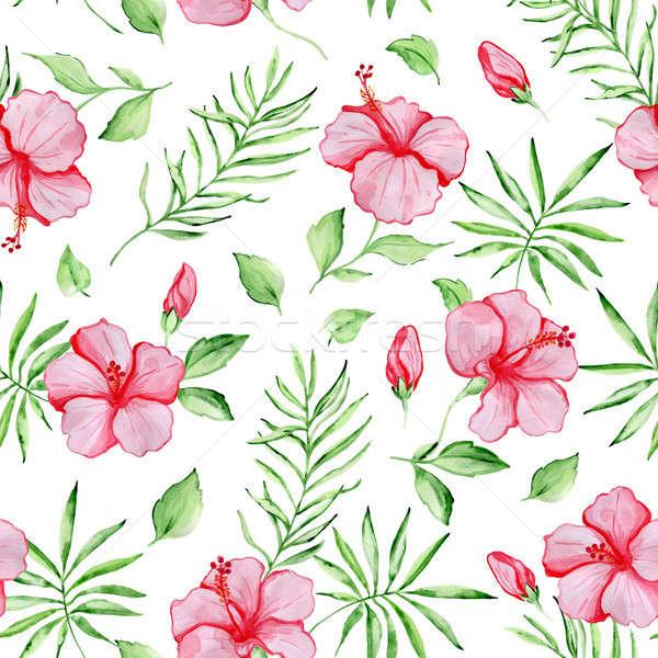 Minta piros hibiszkusz virágok vízfesték trópusi Stock fotó © Artspace