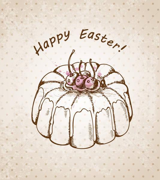 Húsvét torta vektor kézzel rajzolt klasszikus retro Stock fotó © Artspace