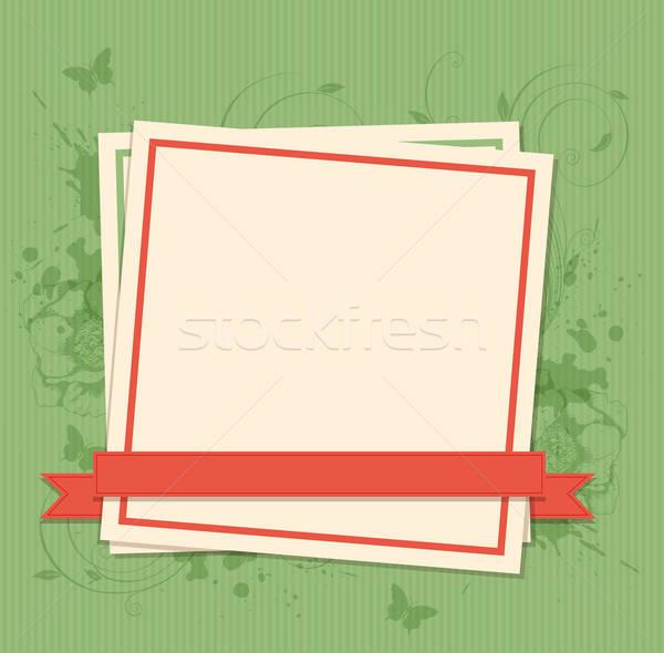Zöld papír keret vektor fehér pillangó Stock fotó © Artspace