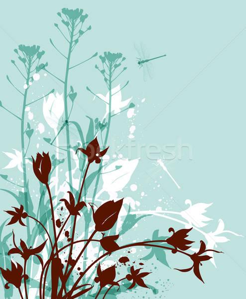 зеленый Полевые цветы декоративный природы вектора фон Сток-фото © Artspace