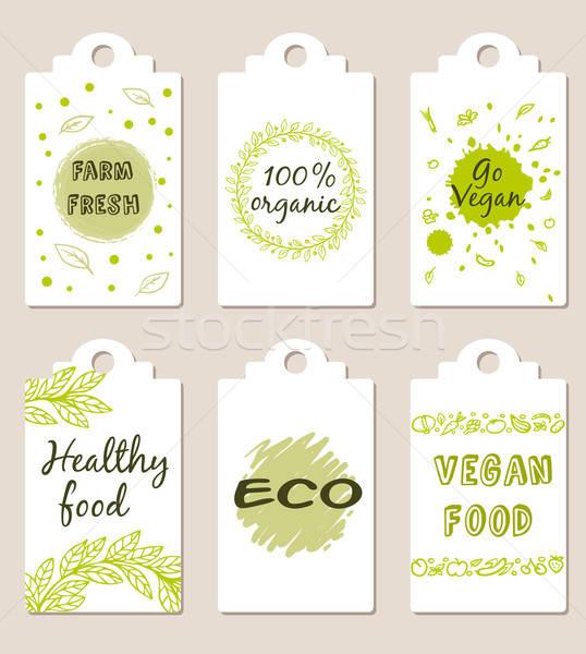 精進料理 バッジ セット 緑 ベクトル 食品 ストックフォト © Artspace