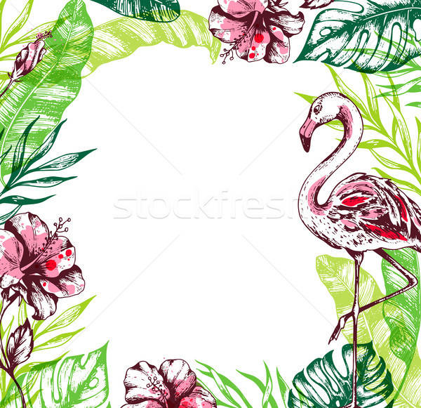 Summer tropical background with flamingo Stock photo © Artspace