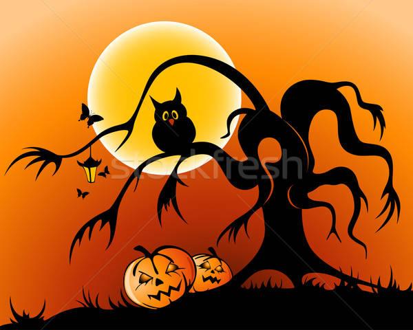 Halloween halloween tök bagoly sziluett fa hold Stock fotó © Artspace