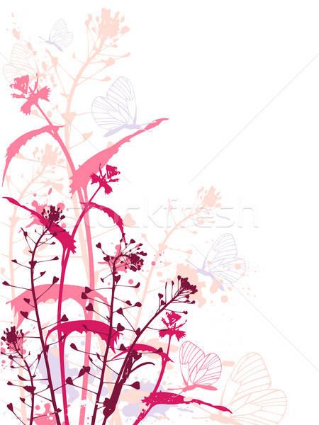 Grunge flores borboletas vermelho efeito primavera Foto stock © Artspace