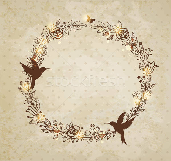 Vintage hand drawn wreath of flowers Stock photo © Artspace