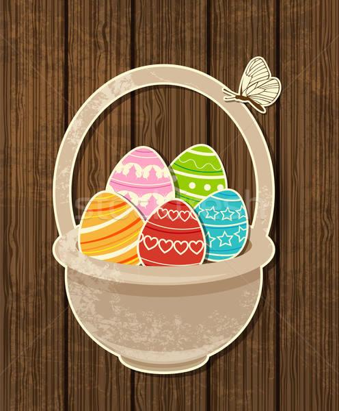 пасхальных яиц корзины вектора весны бабочка Сток-фото © Artspace