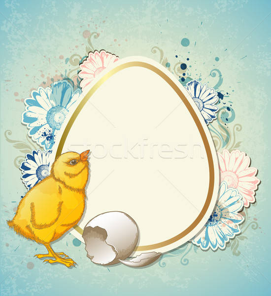 Easter background with chicken Stock photo © Artspace