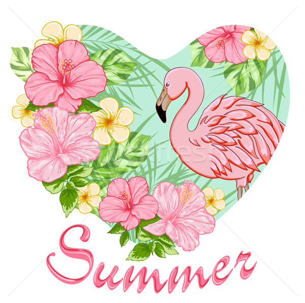 Pink tropical flowers and flamingo Stock photo © Artspace