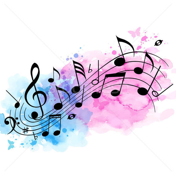 Music background with notes and watercolor texture Stock photo © Artspace