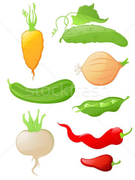 Stock fotó: Szett · fényes · zöldség · ikon · szett · vektor · ikonok
