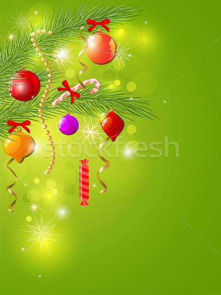 Foto stock: Verde · Navidad · brillante · vector · decoraciones · invierno